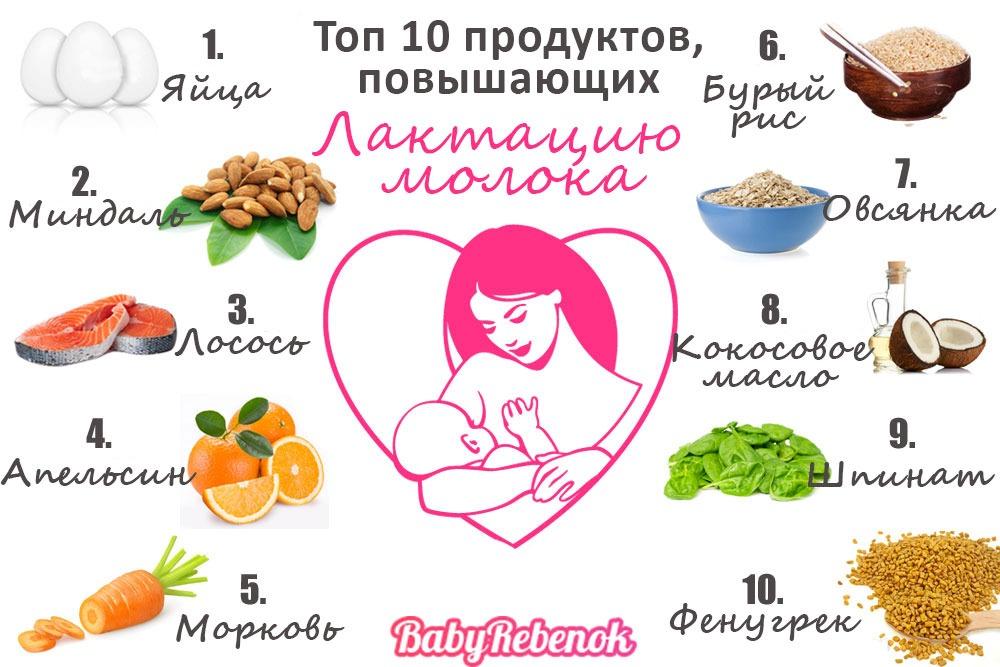 25 продуктов для повышения лактации молока кормящей маме